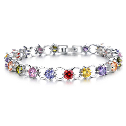 luxury colorful micro pave zircon flower bracelet for women