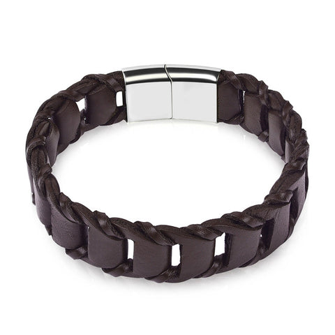 genuine leather chain stainless steel clasp bracelet for men