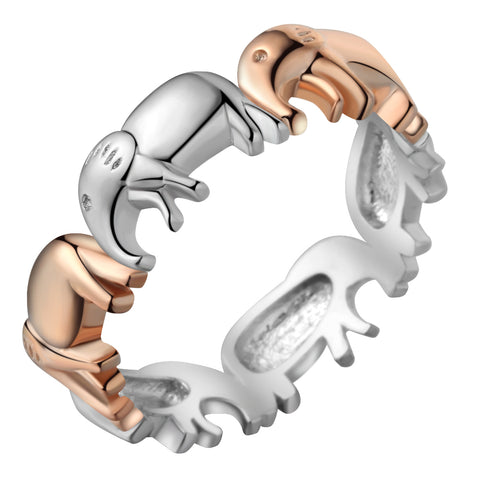 cute silver & rose gold color elephants ring for women
