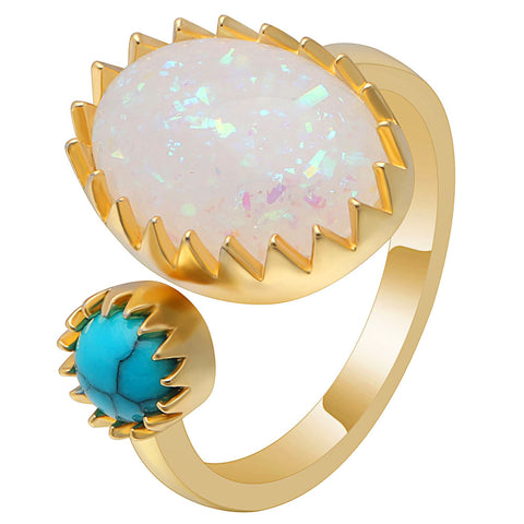 gold color beautiful opal & blue stone crown ring for women