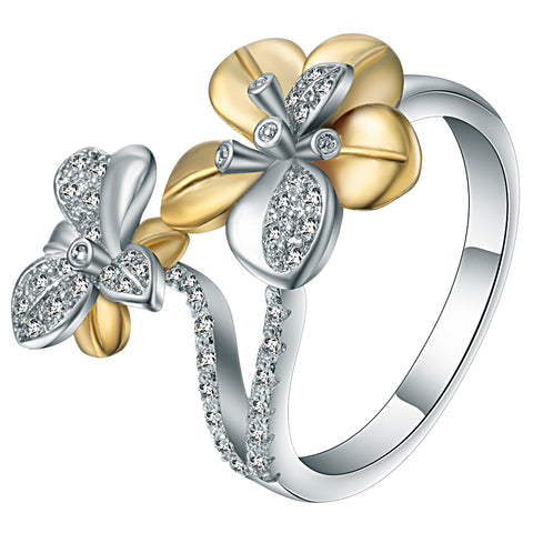 trendy gold and silver color & cz crystal flower shape ring for women