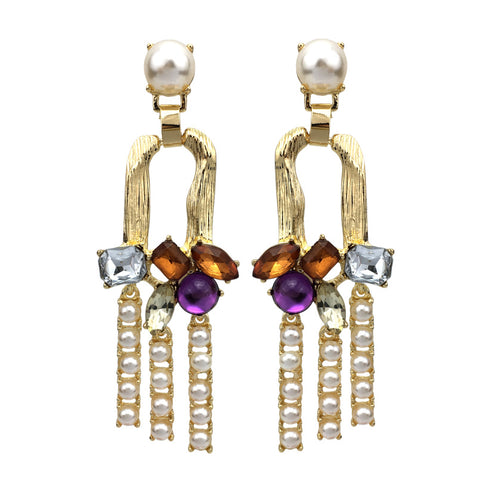 bohemian simulated pearl & crystal long drop earrings for women