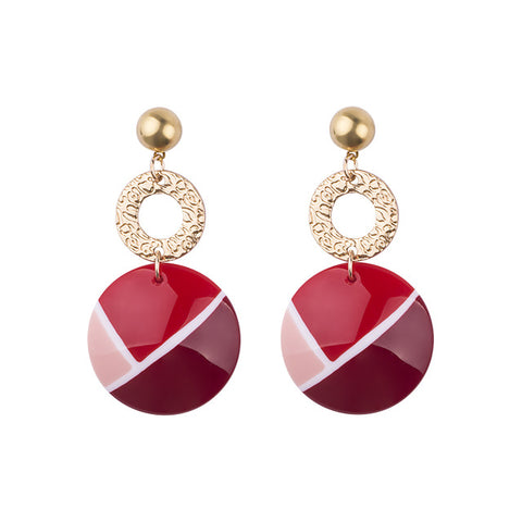trendy gold plated colorful resin round earrings for women