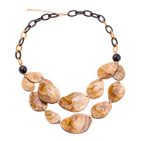 trendy two layer resin stone statement necklace for women