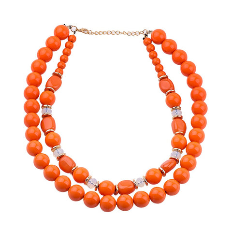 trendy two layer round resin beads statement necklace for women