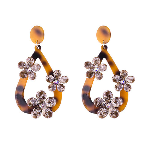 trendy acrylic water drop crystal flower earrings for women