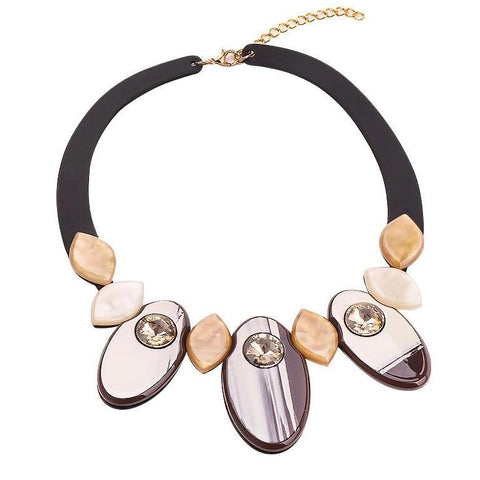 trendy black ribbon & oval resin statement necklace for women