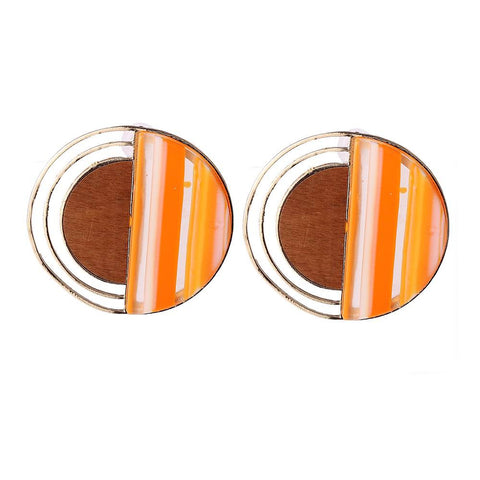 trendy Inlaid resin & wood big round stud earrings for women