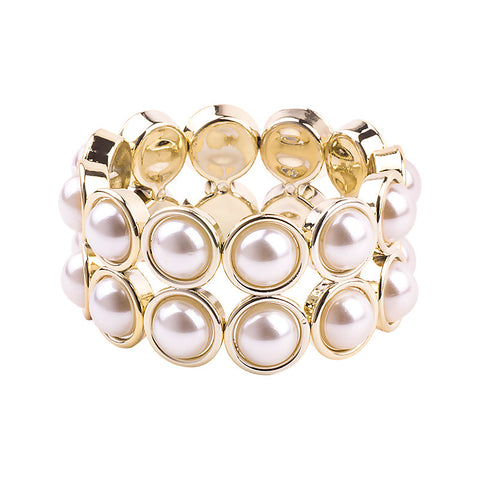 elegant gold plated simulated pearl strand bracelet for women