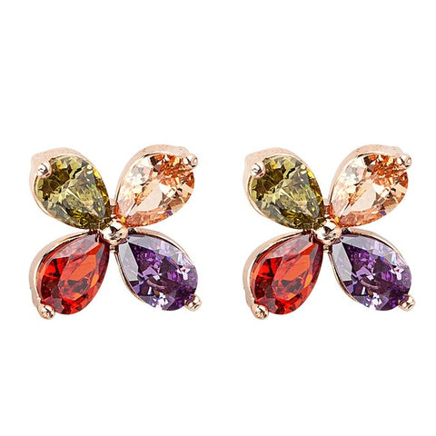 trendy colorful flower shape crystal zircon stud earrings for women