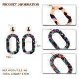 trendy colorful rectangle design drop earrings for women