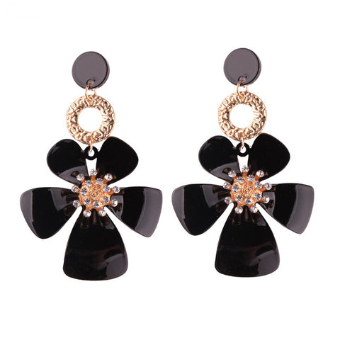 trendy colorful resin flower drop earrings  for women