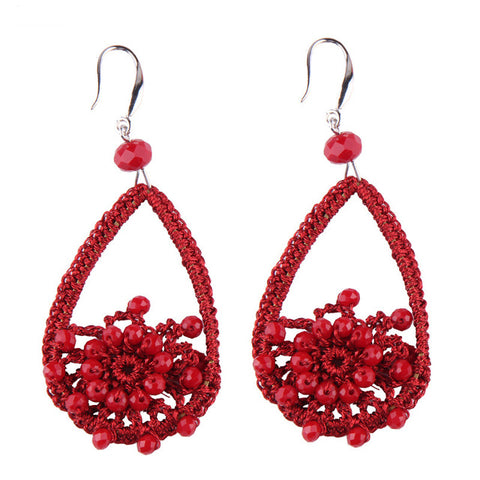romantic design rope knit flower beads drop earrings for women