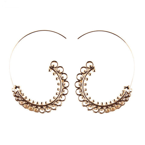 bohemian leaf shape roll dangle drop earrings for women