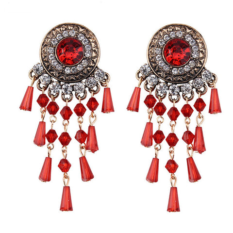 ethnic crystal tassel statement earrings for women