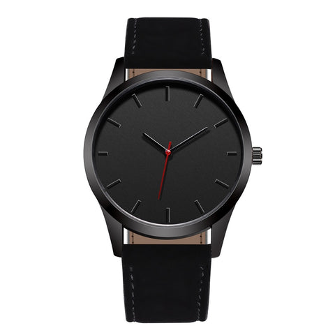 trendy no dial pattern quartz leather band wrist watch for men