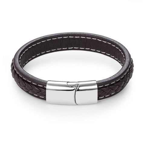 cool braided leather bracelet & bangle for men