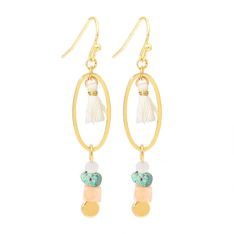 trendy colorful natural stone tassel drop earrings for women