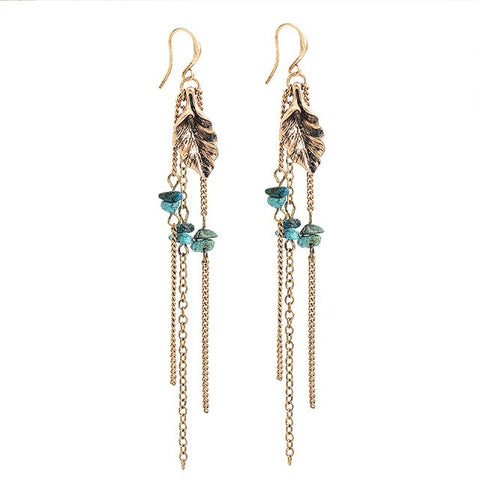 vintage gold/silver color leaf & natural stone tassel drop earrings