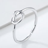 trendy sterling silver knot shape rings for women