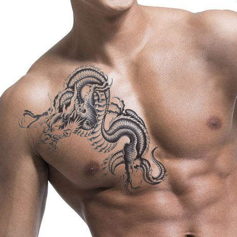 sexy black dragon 3d waterproof temporary tattoo sticker