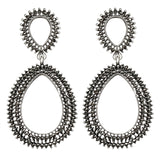 trendy big hollow crystal round drop earrings for women