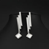 trendy silver color geometric crystal square drop earrings for women