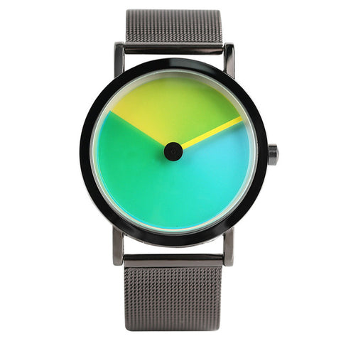 trendy unique gradual change color quartz watch for women