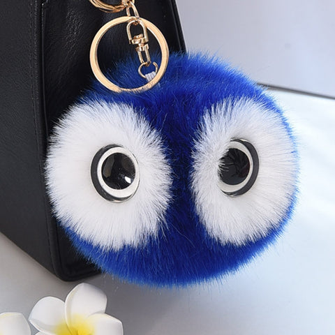 cute owl shape fur ball pompom key chain for women