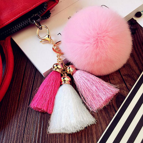 cute fuzzy hairball pompom & tassel key chain for women
