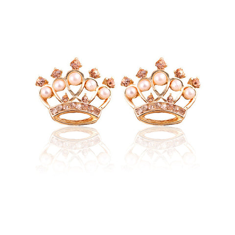 luxury tiny crystal & simulated pearl crown shape stud earrings