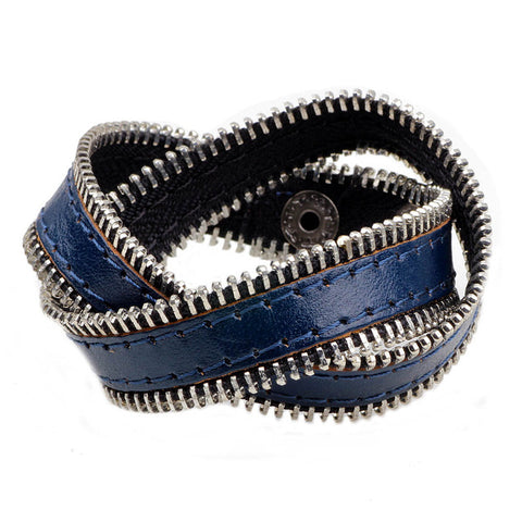 cool zipper chain multilayer leather cuff bracelet