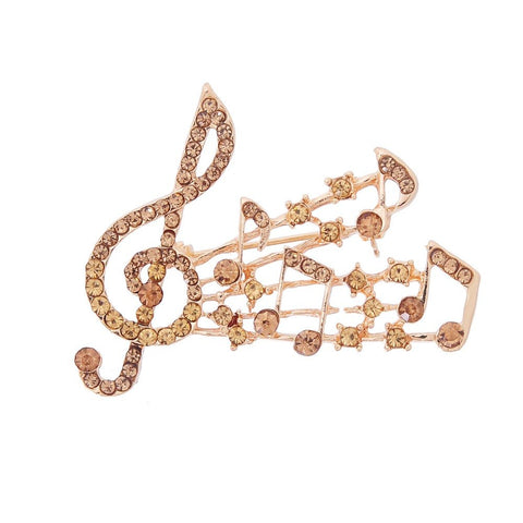trendy cz crystal musical note brooch pin for women