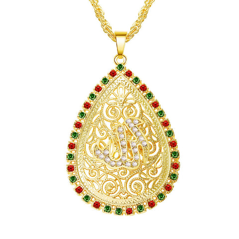 water drop crystal rhinestone muslim allah pendant necklace
