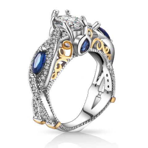 luxury silver color full paved cz crystal ring for women
