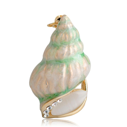 trendy smooth sea conch snail brooch pin for women