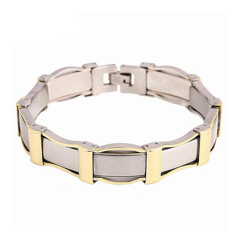 cool stainless steel plated gold chain bracelet for men
