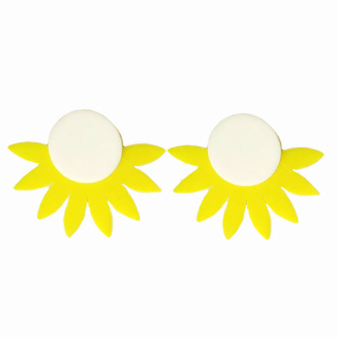 cute big acrylic yellow sun shape stud earrings for Women