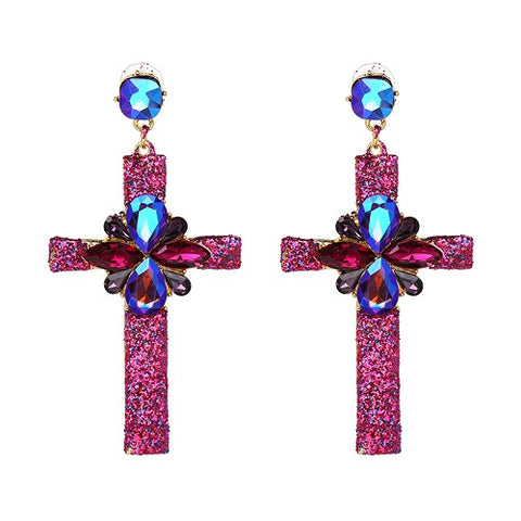 cute multicolor crystal cross big drop earrings for women