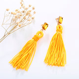 bohemian crystal & fiber tassel long drop earrings for women
