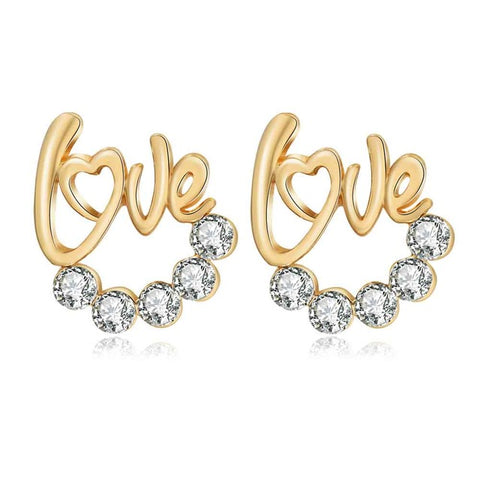 romantic LOVE word with crystal stud earrings for women