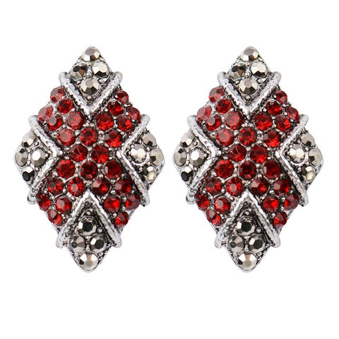 luxury geometric shape crystal stud earrings for women