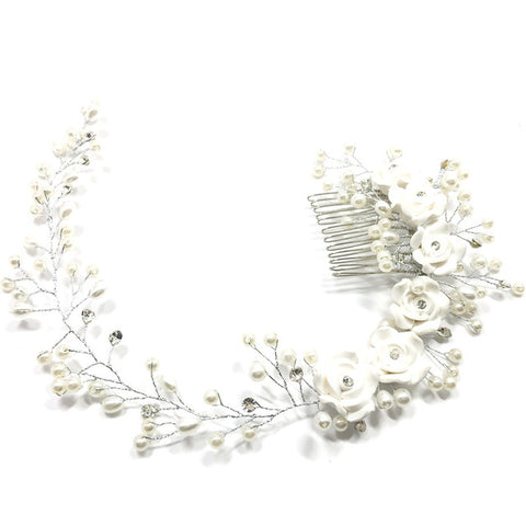 romantic white flower vine tiara bride hair comb