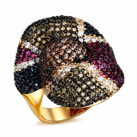 luxury snake skin design pave cubic zirconia ring for women
