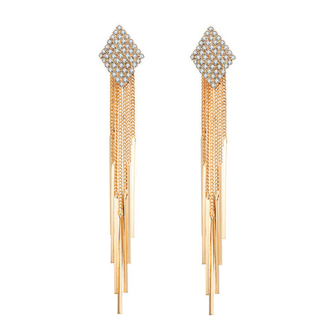 luxury long crystal section chain tassel drop earrings for woman