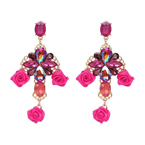 elegant rose flower crystal drop earrings for women