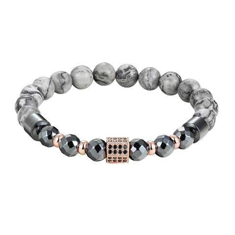luxury pave cz crystal charm with natural stone beads bracelet