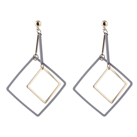 elegant minimal square long drop earrings for women