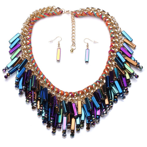 trendy colorful crystal stick statement jewelry set for women