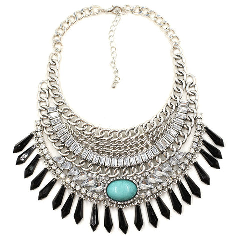 ethnic beads tassel choker statement necklace for women